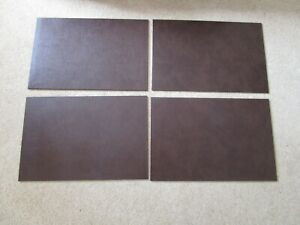 4 X Large Leather BROWN  Desk Mouse Mats Placemats 45 x 30cm Made in UK