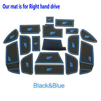 Rubber Non-slip Inner Gate Slot Pad Cup Mats-Blue fits Ford Focus ST 2015-2018