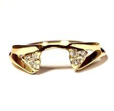 14k yellow gold .09ct SI2 H diamond wrap jacket guard ring 1.9g estate vintage