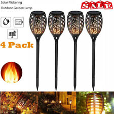 4Pack Auto LED Waterproof Solar Tiki Torch Light Dancing Flickering Flame Lamp