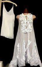 Chloe Dress Optic White With Blue Stripe And Slip Ruffles Sleeveless Size 34 16S