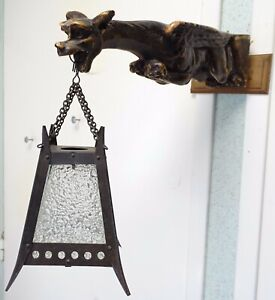 Gorgeous 1900 Antique French Gothic Gargoyle Wall Sconce Griffin Chimera Lantern