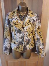 Lauren, Ralph Lauren Vintage Ladies Jacket Abstract Animal Print Yellow 12