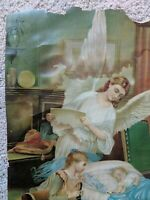 Vintage Antique GUARDIAN ANGEL print poor condition Victorian age baby rattle