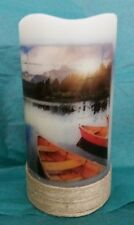 Flameless Flickering LED Candle Canoe Boat Lake 5 Hour Timer Auto On/Off