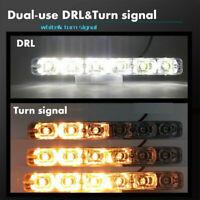 2X Car LED Daytime Running Light DRL Driving Turn Signal Fog Lamp White & Amber