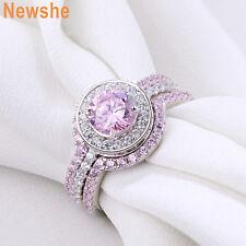 Newshe Pink Sapphire Gemstone 925 Sterling Silver Wedding Engagement Ring Set