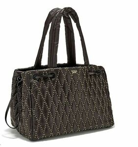Victoria's Secret  Glam Rock Quilted Travel Tote Black Studded Large NWT