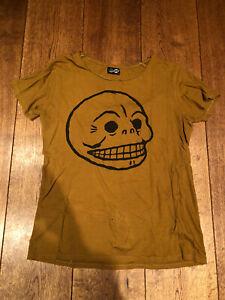 Cheap Monday Cult Mustard Slouchy T Shirt Black Skul Perfect Old Skool Punk Rock