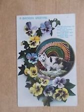 VINTAGE 1910 CAT POSTCARD - A BIRTHDAY GREETING - KITTEN WITH PANSIES