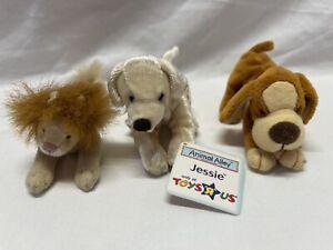 MCDONALS LOT 3 PLUSH MINI ANIMAL ALLEYS TOYS R US DOG LION VINTAGE