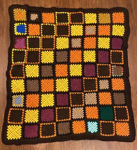 Vintage Granny Square Handmade Crochet Afghan Crib Blanket Brown Tan Orange