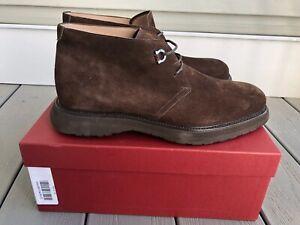 Salvatore Ferragamo NIB BERNARD Brown Suede Calf Chukka / Ankle Boots Size 9 2E