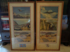 Vintage United Airlines Advertising Lobby Posters 1930's DC-3 Cargoliner Framed