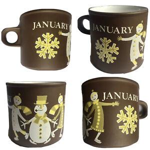 Vintage 1970s Hornsea mug January Kenneth Townsend love snowman skaters brown
