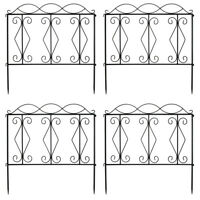 24in x 8Ft Outdoor Decorative Garden Fence Set of 4 Coated Metal Panels