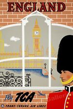 England Big Ben Parliament Vintage 1953 Travel Poster - 20x30