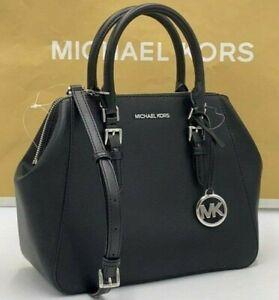 NEW MICHAEL KORS CHARLOTTE BLACK LEATHER Silver LARGE SATCHEL Convertible BAG