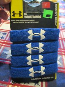 "*NEW* Under Armour Unisex UA 1"" Performance Wristband 4-pack, Blue *NEW*"