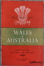 More details for wales v australia 1958 rugby union