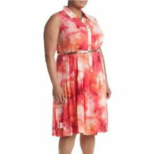 CALVIN KLEIN® Plus Size 22W Tie Dye Belted Pleated Dress NWT $139