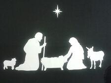 Nativity Christmas family window stickers including sheep, donkey, star REUSABLE