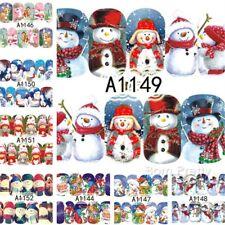 12Sheet Christmas Water Nail Art Stickers Snowflakes & Cute Snowmen  DIY