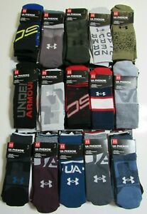 Under Armour Mens Phenom Training Performance 3 Pack Crew Socks Nwt