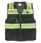 Vero1992 (D) Safety Vest Black For Mens Class 2 Black Series Heavy Duty Utility