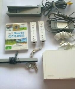 Nintendo Wii Console Bundle with  2 Remotes & cables CLEAN CONSOLE