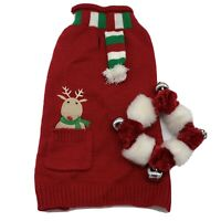 Christmas DOG Sweater & Jingle Bell Collar MEDIUM Red Sweater w/ Scarf Reindeer