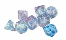 Sirius Polyroller Blue Pink Purple 7 Dice Set + Blue d20 D&D dungeons dragons Z