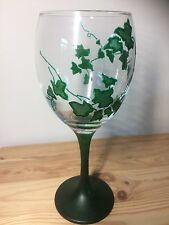 Hand Painted Gothic Green Ivy Plant Large Washable Wine Glass Gift UK