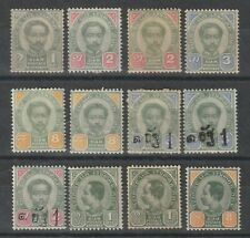 """Thailand 1887-1899 nice group of 12 RamaV """"Second and Third Issue"""" MH"""