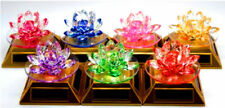 Rotating Solar Powered Crystal Glass Lotus Flower Ornament - All Colours NEW_UK