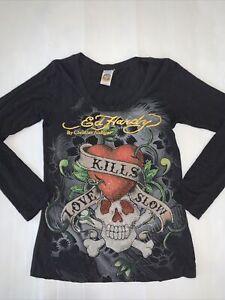 Ed Hardy Womens Christian Audigier Black T shirt Size 11 Heart Skull Bejewelled