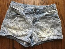 euc GAP KIDS Light Wash Blue Jean Embroidered Shortie Shorts Denim Size 10 Girls