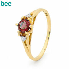 Diamond Solitaire with Accents Ruby Fine Rings