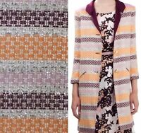 Designer French multicolor striped boucle tweed fabric by yard - Chanel type $80