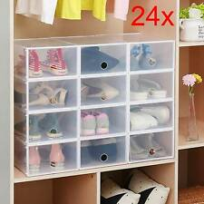 24X Plastic Shoe Boxes Foldable Organiser Drawer Stackable Storage Box