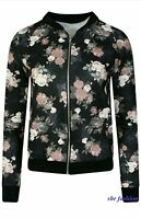 New Womens Long Sleeve Zip Up Flower Floral Print Ladies Bomber Jacket 8-14