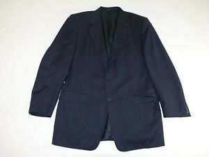 Canali Men's 2 Button Suit Jacket Size 42 Long Navy Blue 100% Wool Blazer 42L