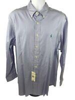 Mens Polo Ralph Lauren Custom Fit Striped Dress Shirt Size 17.5 34/35 NWT!