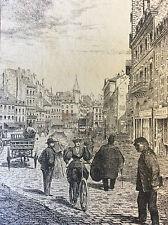 Gravure Saône-et-Loire Bourgogne 1895 place de l'hôtel de ville Chalon-sur-Saône