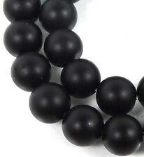8mm Matte Black Onyx Round Beads (24)