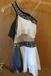 Art Stone Dance Costume Black & White Tulle and sequins 1 shoulder Large Child