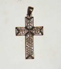 VINTAGE WHITE DIAMANTE CRYSTAL RHINESTONE PRETTY CROSS GOLD NECKLACE PENDANT