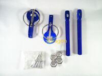 Hood Pin Latch Locking Kit Blue Color Universal Aluminum Alloy Mount Bonnet