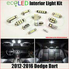 Fits 2012-2016 Dodge Dart WHITE LED Interior Light Accessories Package Kit 11 PC