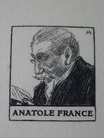Auguste LEPERE (1849-1918) Gravure Bois PORTRAIT MINIATURE ANATOLE FRANCE 1900